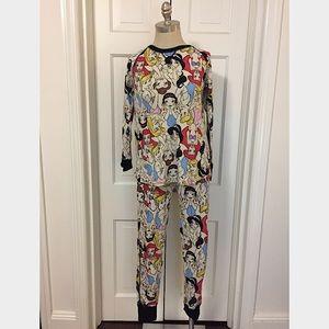 Disney Princess Waffle Thermal Pajama Set M